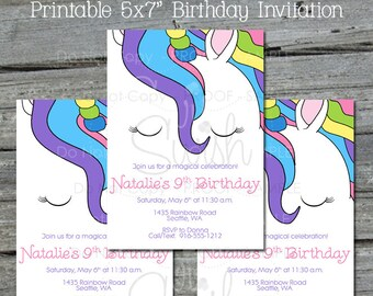 Unicorn Birthday Invitation    Rainbow Birthday Invite   Unicorn Party   Unicorn Party Decorations   Digital Download   Printable 5x7 Invite