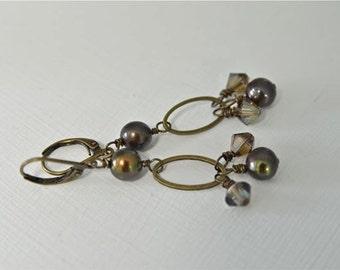 Dark Brown Pearl Earrings with Antiqued Brass Loops Handmade in Maine