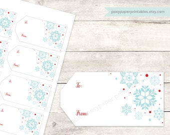 holiday gift tags printable DIY christmas gift tags favor tags favours blue red white snowflakes digital - INSTANT DOWNLOAD