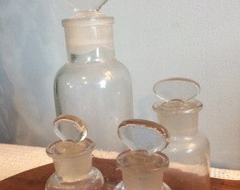 Collection of French Antique Clear Glass Apothecary Bottles, Antique Pharmacy Bottles, Chemist Bottles