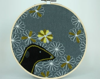 Grey, Yellow and Black Greyhound Picture - Embroidery Wall Art/Hoop Art