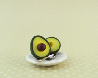 Avocado Earrings Polymer Clay Studs // Dessert Food Jewelry