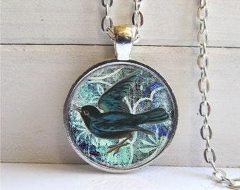 Blackbird Pendant, Bird Lovers Jewelry, Pretty Bird Necklace