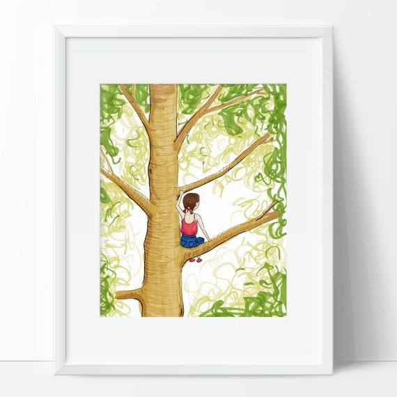 Girl Climbing Tree Art Print Wall Art for Girl\'s Room