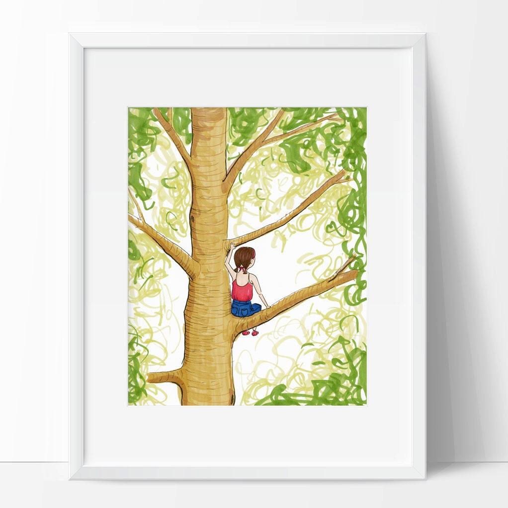 Girl Climbing Tree Art Print Wall Art for Girl\'s Room