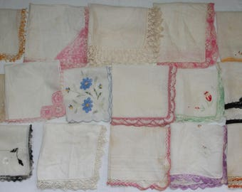 Lot Vtg Handkerchiefs 16 pcs Cotton Crocheted Edge Vintage Multi-Color Hankies Handkerchief