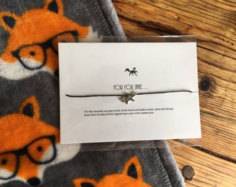 For Foxs Sake / Fox Wish Bracelet / Funny Gift / Wildlife / Fox Charm