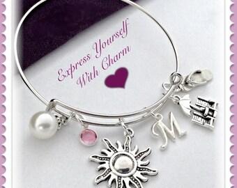 Beach Bracelet, Beach Bangle. Beach Charm Bracelet, Summer Bangle, Beach Jewelry, Personalized Flip Flop Beach Bracelet, Birthstone Bracelet