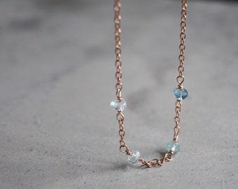 Aquamarine and rose gold bracelet, March birthstone, delicate gemstone bracelet, minimalist chain bracelet, ombre, blue stone, gradient