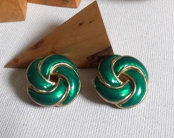 Clip on earrings - gold metal and green enamel - earrings