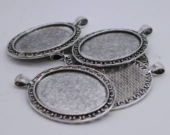 5 pcs Oval Antique Silver Bezel - for 30x40mm - Oval Pendant Blank Bezel for Cabochon Cameo Pendants, Photo Jewelry - T154