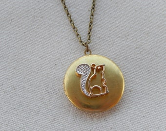 Squirrel Locket, Vintage Avon, Locket Necklace, Gift for Her