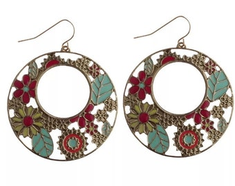 Colorful Bohemian Flower Dangle Earrings