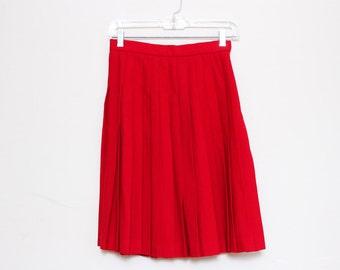 VTG 80s Red Wool Pleated High Waist Skirt S