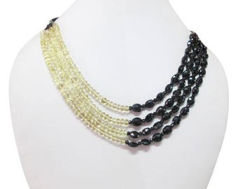 """Black Spinel & Lemon Quartz Beads Multi Strand Necklace made with Sterling Silver Findings 16"""" - Gemstone Necklace Jewelry - Gift for her -"""