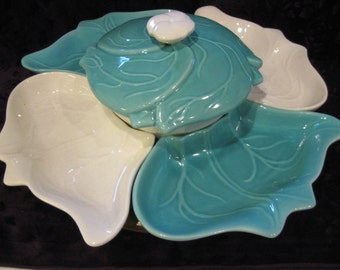 RETRO LAZY SUSAN 7PC Set Teal White Ceramic Cabbage Leaf Leaf Dish w/ Covered Center, California USa Pottery Entertaining Serving Tray 302