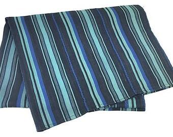 African Blue/Aqua Striped Baule Mud Cloth Throw