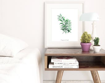 Tropical leaf printable art, tropical print digital download, printable wall art, palm leaf wall art, wall decor, home decor, bedroom decor
