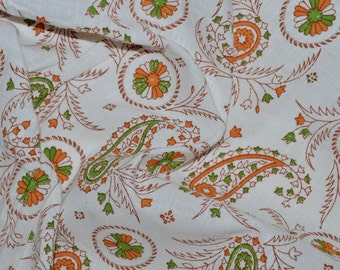 Floral print  -  Jute Cotton Fabric - One yard