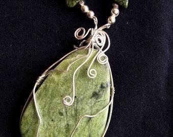 Silver-Wrapped Green Jasper Pendant