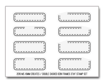"Ms. Kimm Creates Double DASH ICON FRAMES 3""X4 Photopolymer Clear Stamp Set - Journal, Planner, Icons, Borders"
