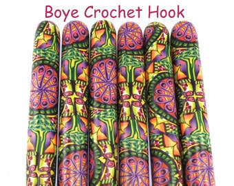 Crochet Hook, Boye  Polymer Clay Covered Crochet Hooks, Crochet Hook Sizes B-N, Custom Crochet Needle, Fun, Colorful Design