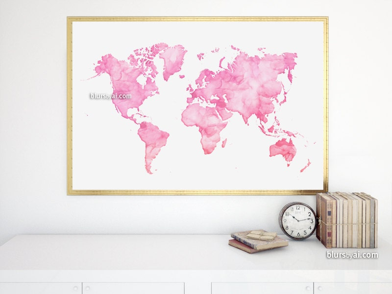 36x24 watercolor world map printable light pink world ampliar gumiabroncs Image collections