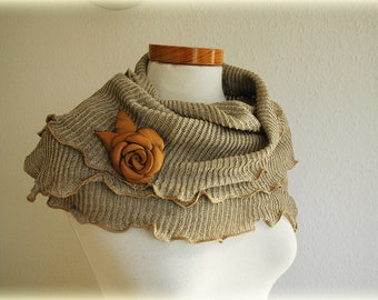 Grey LINEN Scarf  gifts With Knitted Decorated By Brown Leather Rose Eco Friendly Clothing