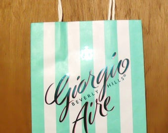 Vintage 1990s Giorgio Aire by Giorgio Beverly Hills Perfume Promotional Paper Shopping Bag Designer Fragrance Collectible