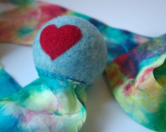 Rainbow Toy, Waldorf Inspired Comet Ball (All Natural Wool and Silk Toy for Kids and Toddlers)