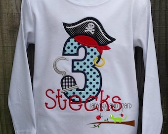 Third Birthday Pirate Short/Long Sleeve Top with Monogram Sizes 2T, 3T, 4T, 5T, 6