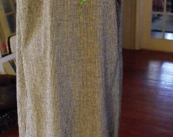 Black Check, Linen and Rayon Dress/ Size 16 Retro Dress-Jumper/ Shabbyfab Funwear