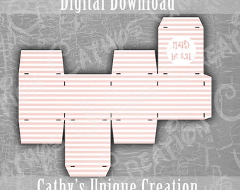 It's A Girl Favor Box, Its Pink Stripes, Baby Shower, Gender Reveal, Square Box, Thank You Gift, Printable Digital Download, Letter, A4