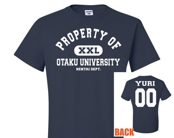 Property of Otaku University Navy Blue T-Shirt, Yuri Tshirt, yuri hentai 00 shirt, anime style shirt, university style tee, otaku geek gift
