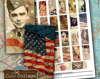 America, Digital Collage, Domino Collage Sheet, 4th of July Images, 1x2 Collage Sheet, Military Ephemera, Images for Pendants
