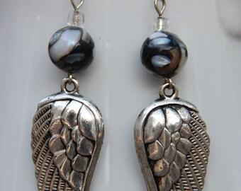 Silver Angel Wing Dangle Earrings - FREE SHIPPING