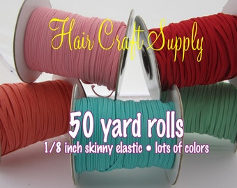 PINK - Skinny Elastic 50 yard roll for baby and adult headbands thin one eighth inch width rolled on tiny rolls for storage