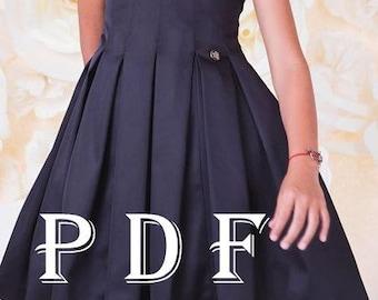 Dress PDF pattern  sizes 122 children's sewing pattern  Instant download digital pattern