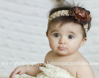 Baby Headband - Baby Flower Headband - Brown Flower Headband