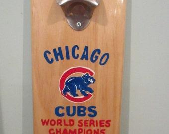 Cubs World Series 2016 Wooden Bottle opener with magnetic cap catcher bottle cap catching opener