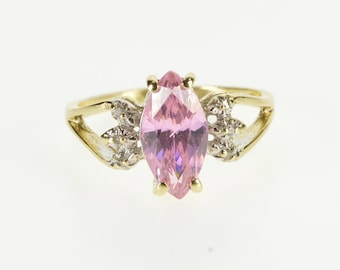 10K Marquise Pink Cubic Zirconia Diamond Accent Ring Size 6 Yellow Gold
