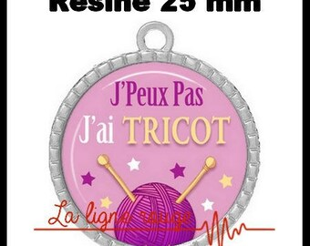Round Cabochon pendant 25 mm epoxy resin - I can not I have knit! (2087) - text, fun, sorry, humor