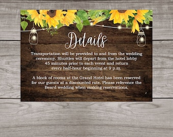 Rustic Sunflower Wedding Details Insert Cards Printed and Shipped to You - Country Rustic Wedding - Affordable Inserts - Wedding-101