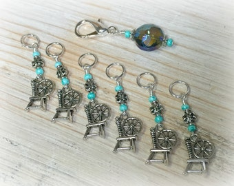 Spinning Wheel Stitch Markers & Crystal Holder- Snag Free Knitting Gift- Green Knitting Marker Set- Tools