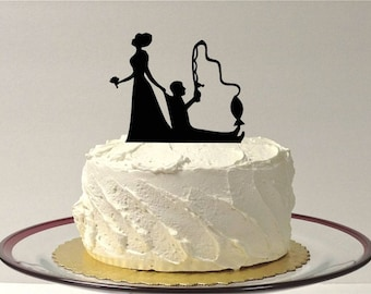 MADE In USA, Funny Fishing Wedding Cake Topper Short Hair Bride Hair Up, Fishing Themed Wedding Cake Topper Fishing Topper Silhouette