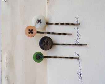 Button Hair Pin Set, Vintage Button Bobby Pins, Vintage Style Hair Accessories for Women and Teens, Fall Colors