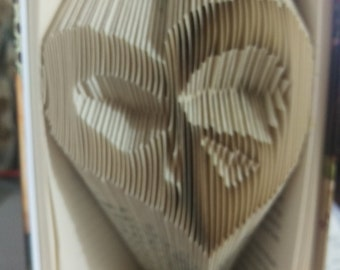 Folded Book Art - Heart with Bow