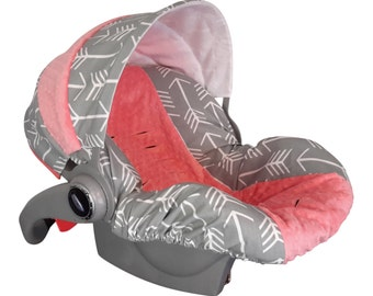 Baby Car Sear Cover Infant Seat Slip Custom Grey Arrow Coral Minky