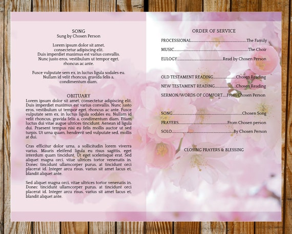 Funeral Program Template Pink Blossom Program Order of