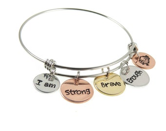 Custom Hand Stamped Bangle | Personalized Word Charm Bracelet | Your Mantra Engraved Charm Bracelets by Expressions Bracelets | Unique Gift